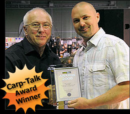 Website designer Richard Stangroom receiving the Carp-Talk 'Best Angling Award' 2008